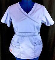 Dickies Large Scrub Top Blue Medical Uniform Work Shirt Multi Pockets V Neck L M