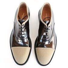 DRIES VAN NOTEN dark bronze patent leather cap toe oxford shoes 42-IT/9-US NEW