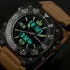 INFANTRY Mens Digital Quartz Wrist Watch Chronograph Military Army Brown Leather