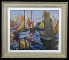 Daniel REAL (1877-1931) Bateaux à Concarneau HSP Bretagne orientalisme Guitres
