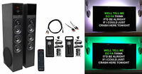Rockville Bluetooth Home Theater/Karaoke Machine System, LED'S+Subwoofers+Mics