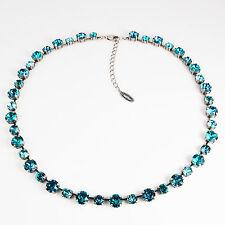 Collier Kette lang Tennis Silber 42 Swarovski Kristalle Indicolite türkis blau