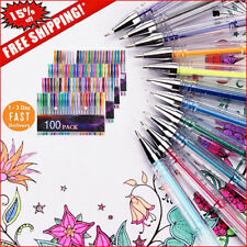 100 Gel Pens Pack Set Individual (No Duplicates) Metallic Glitter Neon Coloring.