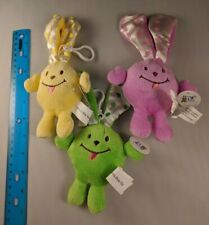 Beverly Hills Teddy Bear Co Easter Bunny Rabbit Smiley LOT OF 3 Green Purple Yel
