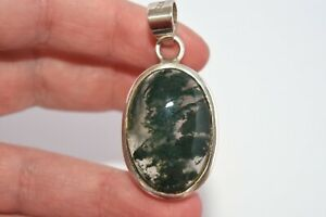Sterling Silver Moss Agate Pendant Green Gemstone Necklace 925