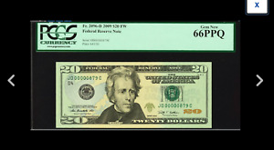 A GEM NEW PCGS 66 THREE DIGIT SERIAL NUMBER 879 Fort Worth 2009 $20 FR.2096-D