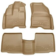 2009-2015 Lincoln MKS Husky WeatherBeater Front & 2nd Row Tan Floor Liners