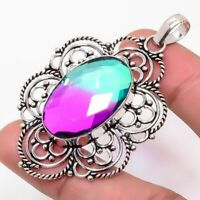 "Bi-Color Tourmaline Handmade Ethnic Style Jewelry Pendant 2.36"" MS0008"