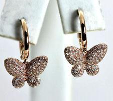 14K Pink Gold .63 Diamond Dangling Butterfly Earrings