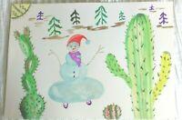 Christmas Gift for kids ORIGINAL WATERCOLOUR Funny SNOW Woman ART FREE P&P