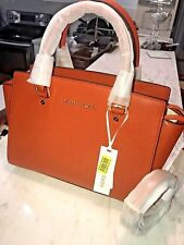 Michael Kors Selma Top Zip Medium Saffiano Leather Satchel Crossbody Orange New