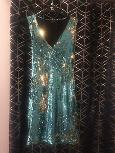Motel Rocks Blue Sequin Party Dress