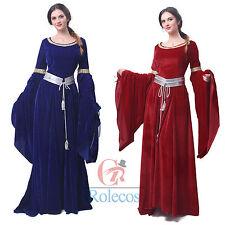 Medieval Renaissance Velvet Long Dress Celtic Queen Gown Party Cosplay Costume