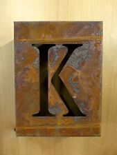 "8"" RUSTY RUSTED INDUSTRIAL METAL BLOCK CUT SIGN LETTER K vintage marquee wall"