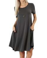 Women Short Sleeve Round Hem A-Line Tunic Dress with Side Pockets