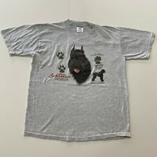 Vintage 90s Giant Schnauzer Dog T-Shirt Size L Gray Jerzees Animal