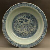 CHINESE OLD BLUE AND WHITE CHARACTER STORY PATTERN PORCELAIN PLATE