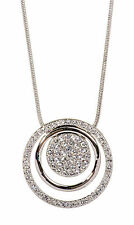 Swarovski Elements Crystal Triple Circle Pendant Necklace Rhodium Plated 7183z
