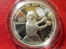 1987 Niue Large Silver $50 Olympic Tennis- Steffi Graf