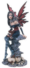 GOTHIC RED WINGED FAIRY WITH BABY DRAGONS FIGURINE