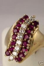 ESTATE 14K GOLD RUBY DIAMOND COCKTAIL RING SIZE 8