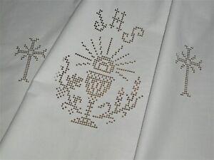 """Altes  Altartuch 103 cm / 77 cm """" Gelobt sei Jesus .."""" Lochstickerei  Handarbeit"""