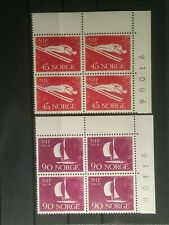 SCOTT #389-392 1961 NORWAY PLATE BLOCK OF 4 STAMPS MNH