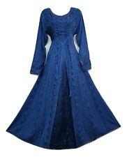 Boho Maxi vestido de invierno mangas largas azul festivo Corsé Medieval Bordado