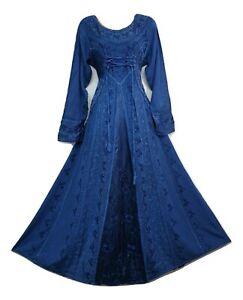 Boho Maxi Dress Winter Festive BLUE Long Sleeve Corset Medieval Embroidered