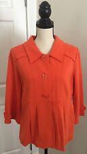 MOTTO Bright Orange Stretch Cotton Knit Jacket Women's Size Medium Button Front