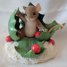 """""""Happy Holly Days"""" #87/136 Fitz And Floyd Charming Tails Mouse Figurine No Box"""