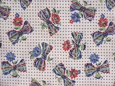 Vintage Feed Sack Bowties and Daisies Blue Red Green