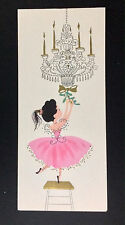 Little Girl in Pink Tutu hanging holly Ballerina Vintage Mid-Century Xmas Card