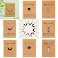 Jewelry Card Chain Moon Pendant Natural Necklace Women Stone Waterdrop Choker