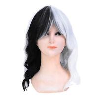 2019 Popular Women Halloween Black White Cosplay Long Curly Wavy Hair CosplJB