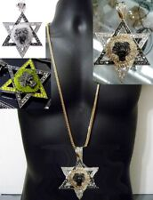 Star Of David Jewish Lion Pendant Hip Hop Rap Style Chunky Necklace Franco Chain