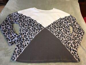 Womens Gray Cheetah Print Color Block Shirt Size XL