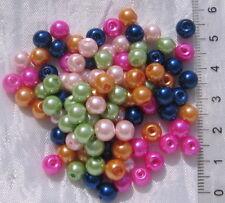 20 perles rondes en verre nacré  8 mm couleur verte-pvc087