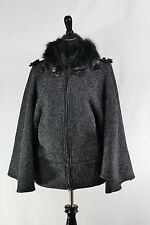 Womens Black Cape Coat Jacket Faux Fur Collar Roset Bodice Luxe By Irina Small