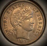 1913 Philadelphia Mint Silver Barber Dime