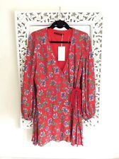 Zara Red and Blue Floral Wrap Dress, UK Size L 12 New