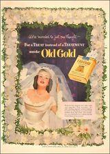 1951 vintage tobacco AD OLD GOLD Cigarettes a Classic Bride ! 091617