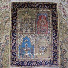 Yilong Oriental Villa Hand Knotted Area Rugs Living Room Handmade Silk Carpet