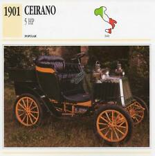 1901 CEIRANO 5 HP Classic Car Photograph / Information Maxi Card