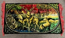 "Vintage 43"" X 23"" Italy Red Woven Naturescape Nature Elk Deer Wall Tapestry"