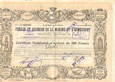 Comp. des Forges & Forges et Acieries de la Marine et d' Homecourt, accion, 1914