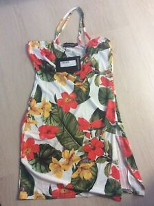 Pretty Little Thing Size 12 White Floral Square Neck Thigh Split Body con