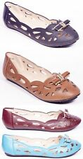 Women Ballerina Casual Ballet Flats, Perforated Slip-Ons Shoes /w Bow Buckles