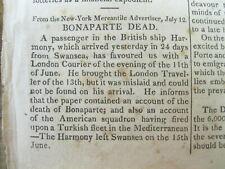 3 1821 newspapers w 1st news of DEATH of NAPOLEON BONAPARTE on ST HELENA ISLAND