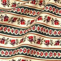Sweet Little Red Rose Stripe on Cream & Hunter Green, Cotton Fabric Per 1/2 Yd